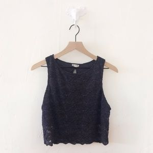 ✨3 for $18✨ Navy Free People Lace Crop Top Size L
